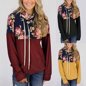Women Floral Hoodie Hooded Sweater Long Sleeve Casual Sweatshirt Pullover Top