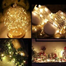 4 pack 80 LED String Fairy Lights Copper Wire Battery Power Christmas Warm White