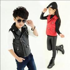6968 Boys Girls Faux Leather Sleeveless Vest Kids Children Jackets Coats S3-12Y