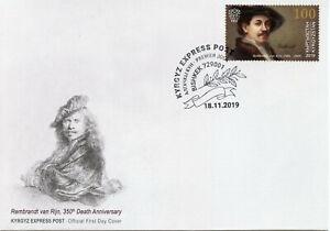 Kyrgyzstan Art Stamps 2019 FDC Rembrandt van Rijn Paintings Famous People 1v Set