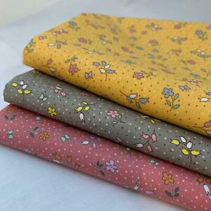 Ditsy Florals Print fabric by Rose & Hubble 100% Cotton poplin Rose, Yellow Grey
