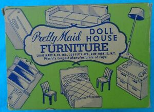 Vintage Marx Pretty Maid Dollhouse Furniture Original Box Plastic