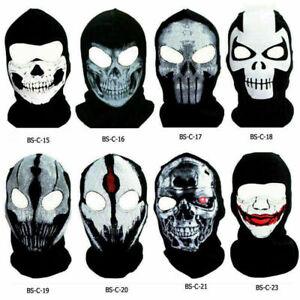 Tactical Ghost Skull Printed Balaclava Full Face Mask Men CS Motorcycle Ski Hat