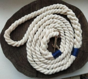 Handmade Cotton Rope Dog Leash Braided soft Dog Lead Walking White Dog Leash