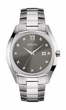 Bulova Men's Quartz Diamond Markers Deep Gray Dial Bracelet 42.5mm Watch 96D122