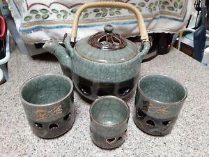 Vtg Japan Tea Pot & Cups SOMAYAKI Crackle Glaze Bamboo Hearts Horses Somaware