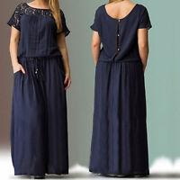 Women Plus Size Lace Hollow Summer Boho Casual Sundress Loose Long Maxi Dress US