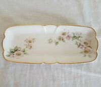 "Porcelain EME Made in Spain 8.5""x3.75"" Trinket Dish Pink Flowers Limoges Pastes"