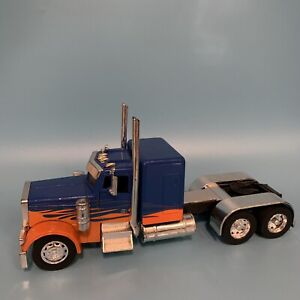 New Ray Peterbilt Semi Truck with Cab Blue Orange Flame 1:32 Rare