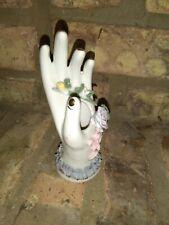 Vintage Porcelain Hand Ring Holder Rose Green Leaves Ring Vase