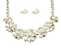 DIAMANTE & IMITATION WHITE PEARL GOLD FLOWER NECKLACE WITH MATCHING EARRINGS