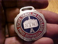 Antique Pocket Watch Fob ,Iowa State Traveling Mens Assn,Des Moines Ia,Opens