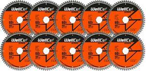 10 x WellCut Plunge Saw Blade 160mm x 60T x 20mm Bore Suitable Festool TS55 HK55
