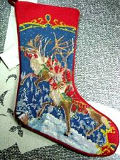 Sferra Needlepoint Christmas Stocking REINDEER - NEW!