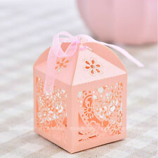 50PCS Love Heart Laser Cut Candy Box Gift Box Ribbon Wedding Party Favor US SELL