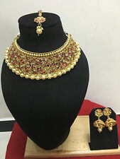 Indian Ethnic Gold Plated Bollywood Bridal Fashion Gold Jewelry Necklace Set