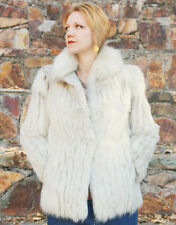 VINTAGE ARCTIC FOX FUR JACKET Women's Coat Size Small Silver Color EXCELLENT!