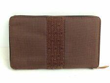 Auth Hermes Her Line Perth Zip Around purse canvas Brown Ladies 6F180100S