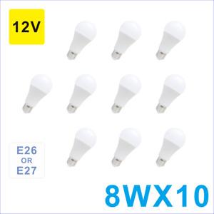 Led Light A19(A60) Bulb 12V/24V E26 8W White,Low Voltage,For General Lighting