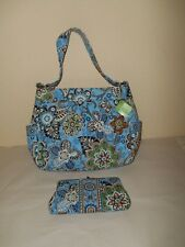 VERA BRADLEY Teal Bali Blue Two Way Tote With Wallet
