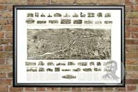 Old Map of Torrington, CT from 1907 - Vintage Connecticut Art, Historic Decor