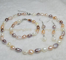 9-10mm Natural Baroque Multi-colored Freshwater Pearl Necklaces Bracelet Earring