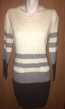Tommy Girl Women Long Top Sweater Tunic Dress Large New Studs White Grey Black