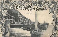 """""""Greetings From Canada In Old Quebec"""" Boats, Pier ca 1910s Vintage Postcard"""