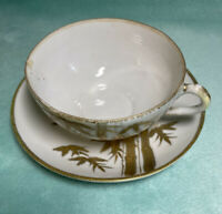 Teacup And Saucer - White With Gold Moriage Birds & Bamboo - Japan