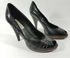 steve madden schwarz lackleder open toe high heel schuhe uk 6 eu 39