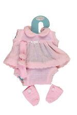 Vestido punto rosa con diadema y peucos 42 cm. (T5100R)