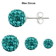 Sterling Silver Shamballa Ball Stud Earrings with Genuine PRECIOSA Crystals