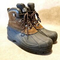 Old Mill Mens Glacier Sz 10 M Brown Leather Lace Up Insulated Winter Boots