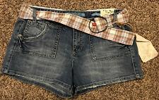 Mudd Jeans Denim Cotton Blend Shorts W/ Belt NWT A1