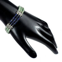 """NATURAL EMERALD & SAPPHIRE BEADED 95 CTS BRACELET W OXIDIZED SILVER CLASP 7.5"""""""