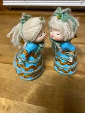 Vintage 1960s Christmas Blue Boy & Girl Kissing Angel Pair Figure Japan Figurine