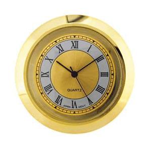 New Mini Quartz Clock Movement Insert, Roman Numerals 42 mm Ø Bezel Gold..