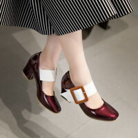 Ladies Cute Mary Jane Buckle Strap Patent leather Dating Shoes Pumps Square toe