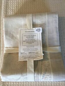 Williams Sonoma Vintage Floral Jacquard 70 X 90 Tablecloth Natural