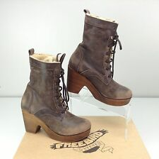 FREEBIRD by Steven FIONA Brown Boots Wood Platform Heel 7 Lace Up Lined