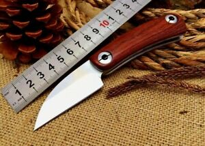 Mini Drop Point Folding Knife Pocket Hunting Wild Survival Tactical Carbon Steel