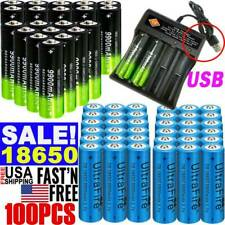 10/50/100X 3.7V 18650 Li-ion Rechargeable Battery For Flashlight +Charger Lot US