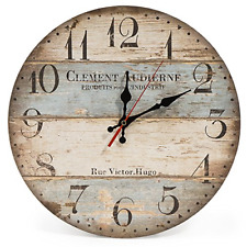 """LOHAS Home 30cm Silent Wooden Round Wall Clock, 12"""" Vintage Rustic Shabby Chic"""