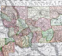 1908 Montana Map Yellowstone Helena Custer Missoula Idaho Reverse ORIGINAL
