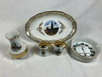 Lot of 5 Vintage Munchen Germany Munich Gold Accent Souvenirs Vase Ashtray Dish