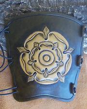 Hand carved leather archery arm guard,bracer,Large tudor rose,LARP,Cosplay.AdBrn