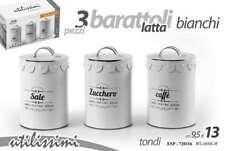 TRIS BARATTOLI TONDO LATTA 13CM SALE ZUCCHERO CAFFè VINTAGE BIANCO ESP 720116