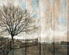 Rustic Country Farmhouse Wall Decor Brown Blue Home Decor Matted Picture