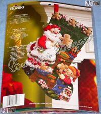Bucilla CHRISTMAS COOKIES Stocking Felt Applique Kit - Santa,Elf - 86106