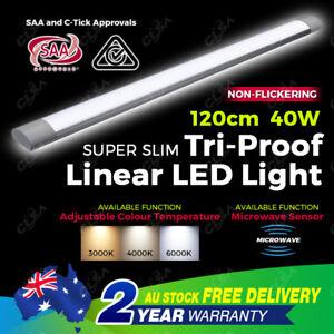 New 40W 1200MM LED Batten Light Color Temp  Adjustable Motion Sensor Optional